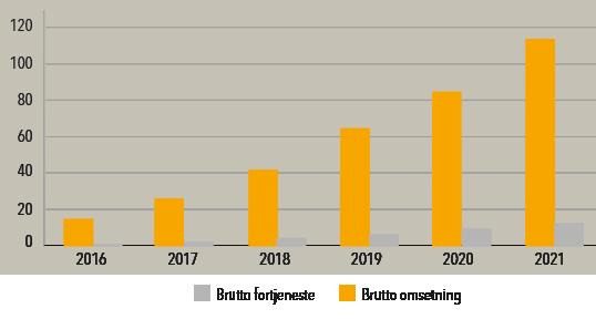 Brutto-omsetning og fortjeneste GulEng 2016-2021